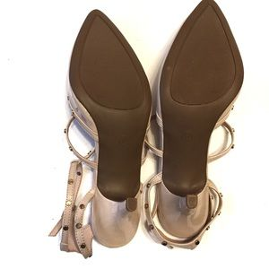 Cato Shoes - CATO Patent Leather Nude Caged Heels with Studs
